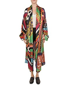 The Kooples - Baroque Pattern-Block Silk Kimono